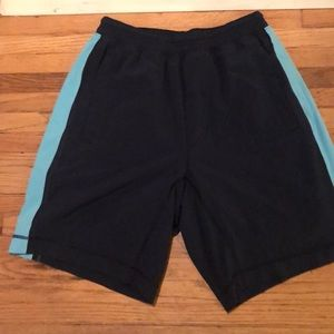 Navy and teal men's Lululemon shorts